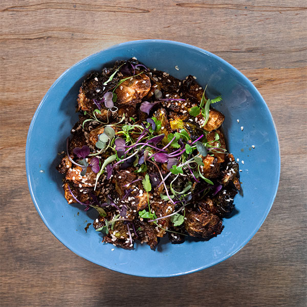 GRIND Kitchen's Brussel Sprouts with Infinite Harvest Cilantro Microgreens.