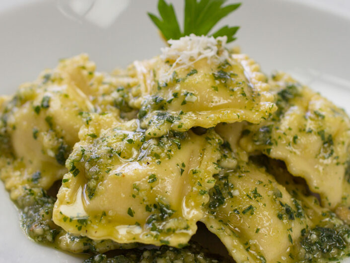 Lobster Ravioli with Creamy Pesto Crab Sauce